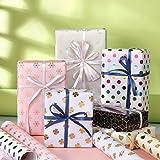 ZWOOS Geschenkpapier, 6 Blatt Geschenkpapier Valentinstag Geschenkpapier Geburtstag Geschenkpapier Gold Edel für Urlaub, Geburtstag, Hochzeit, Ostern, Halloween Geschenk (70 * 50cm) - 2