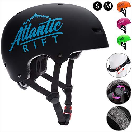 Deuba Atlantic Rift Skaterhelm Kinder Schwarz Verstellbarer Kinngurt Größe S BMX Helm Kinderhelm Skatehelm Scooterhelm