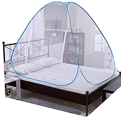 V-Fyee Foldable Free Installation Pop Up Mosquito Net Tent Canopy Insect But Netting for Double Bed Baby Crib - Kids Play House Garden Out Door Camping Tent