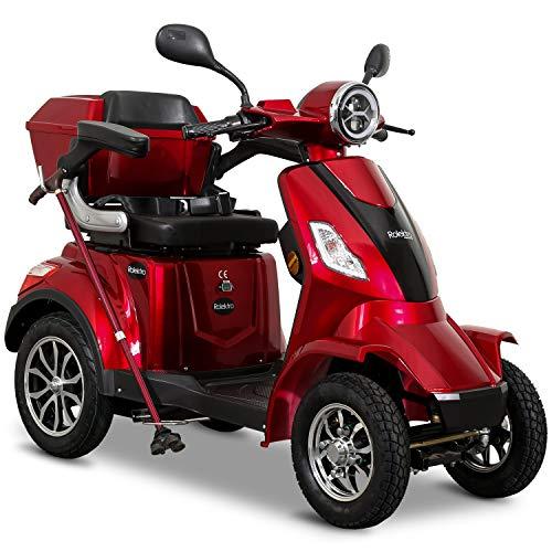Rolektro E-Quad 25 V.3 Pro Rot mit Lithium Akku - Elektromobil 4-Rad 1000W Elektroroller - 50km Reichweite - Seniorenmobil mit Zulassung