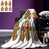 QNWLKJ Blanket Gingerbread Man Vivid Hausgemachte Kekse Zuckerhaltige Weihnachtsleckereien Sweetasty Pastry Warme Mikrofaser Weiche Blanket 130X150Cm