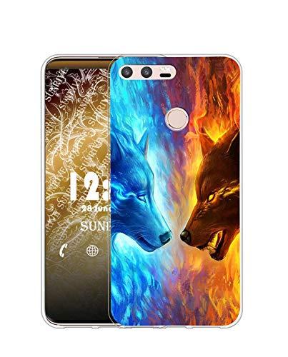 Sunrive Funda Compatible con Huawei P9, Silicona Slim Fit Gel Transparente Carcasa Case Bumper de Impactos y Anti-Arañazos Espalda Cover(Q Lobo 4)