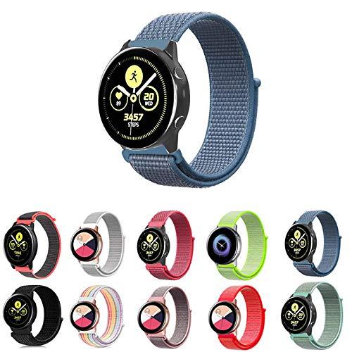 Pulseira Nylon Loop para Samsung Galaxy Watch Active 40mm e 44mm - Galaxy Watch 42mm BT - Gear S2 Classic - Gear Sport R600 - Amazfit Bip - Amazfit Gtr 42mm - Marca Ltimports (Azul)