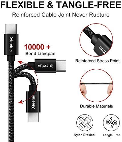 Cable USB C Corto (0,3m 2 Pack), CLEEFUN Cable USB Tipo C de Carga Rápida, Ultra Resistente Nylon Cable para Samsung Galaxy S10 S9 S8 A40 A50 M20 M30s, Xiaomi Mi 8 9 9T, Redmi Note 8 9 Pro, Moto G6 G7