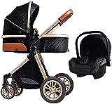 Cochecito de bebé,sistema de viaje 3 en 1 Cochecito de bebé,cochecito de paseo, cochecito de bebérecién nacido antichoque de alto paisaje con organizador de cochecito, cochecito y accesorios
