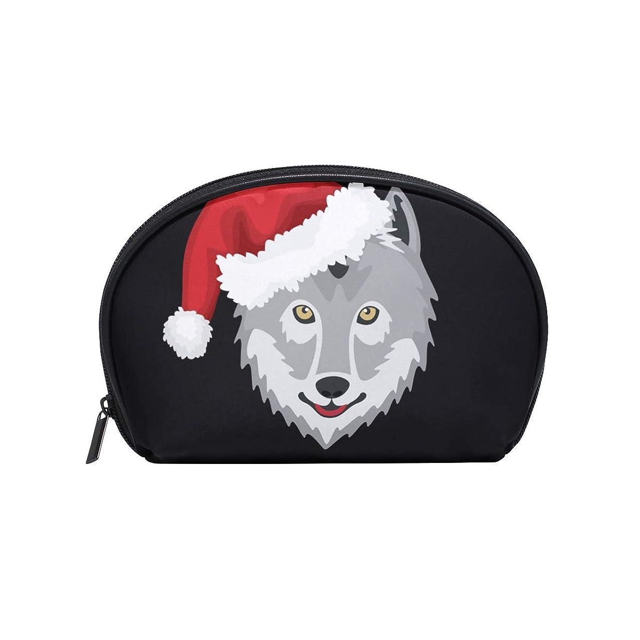 離れてフォーマル祝う半月型 北欧 オオカミ 化粧ポーチ コスメポーチ コスメバッグ メイクポーチ 大容量 旅行 小物入れ