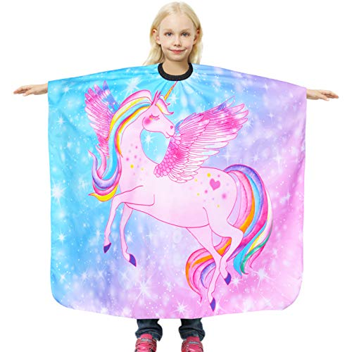 """Nidoul Kids Haircut Cape, Unicorn Salon Barber Cape Hair Stylist Cover, Waterproof Hairdresser Apron for Child Boys Girls, 47""""x39"""" Extra Long Hair Cutting Apron with Clip Closure (Unicorn)"""