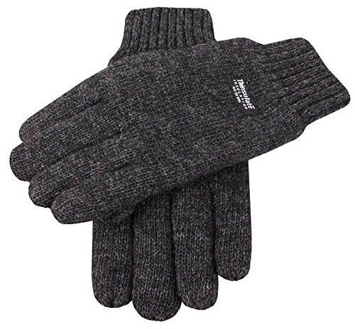 Dents Charbon de bois lisses gants tricotés - Grand de