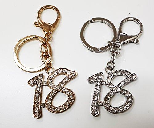 takestop® Set van 12 snoepjes snoepjes goud zilver Brillantini 18 jaar verjaardag glitter sleutelhouder