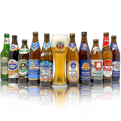Oktoberfest German Craft Beer Mixed Case 10 Pack with Official Erdinger Glass - Perfect for Christmas