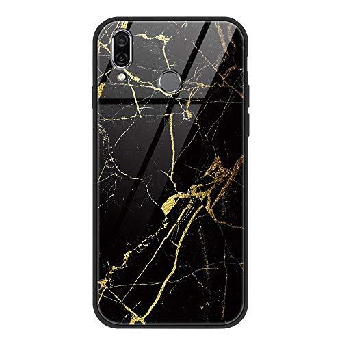 ZhuoFan Huawei P Smart 2019 Gehärtetes Glas Hülle mit Muster Motiv Handyhülle [Stoßfest] [Kratzfest] TPU Silikon Rahmen Glasrückseite Glashülle Schutzhülle für Huawei P Smart 2019, Marmor schwarz