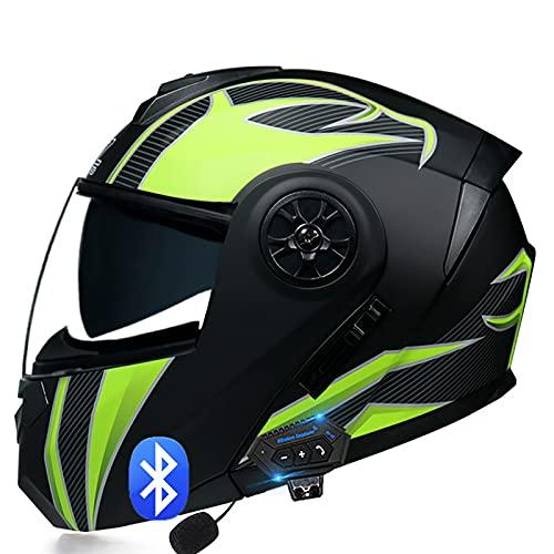 Casco de Moto Modular Bluetooth Integrado,con Doble Visera Cascos de Motocicleta,Casco Integral Transpirable y Cómoda,para Mujeres y Hombres ECE Homologado I,S=55~56cm