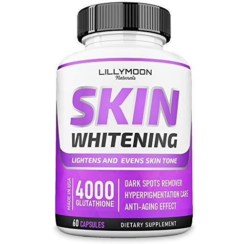 Glutathione Whitening Pills Skin Lightening Pills - Skin Whitening Formula - Glutathione Whitening Skin Pills with Vitamin C - Skin Lightener - Dark Spot Remover - Made in USA