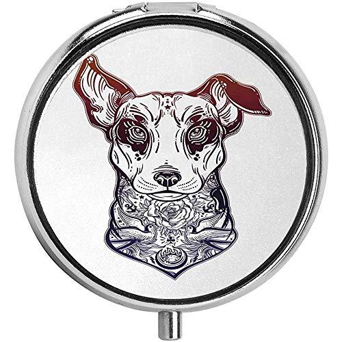 Digitaal Gegenereerd Vintage Stijl Bull Terrier met Tattoo Art Rose Vogels Aangepaste Pil CaseGift 3 Compartment Pill Box