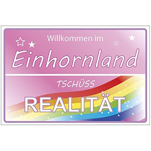 Einhorn Schild Wilkommen im Einhornland - Deko/Geschenk, Unicorn Geschenkidee für Mädchen