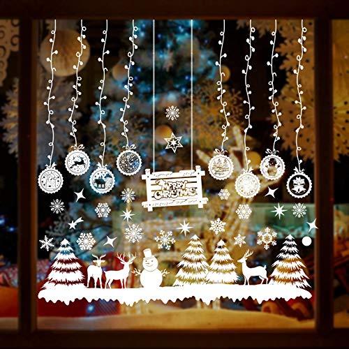 MMTX Adornos de Navidad Vinilos para Ventanas, Pegatinas Navidad Escaparate, DIY Adhesivos Navideños Copo de Nieve Arbol Navidad Renos Murales Pared Decorativos Exterior Hogar Tienda Casa Decoración