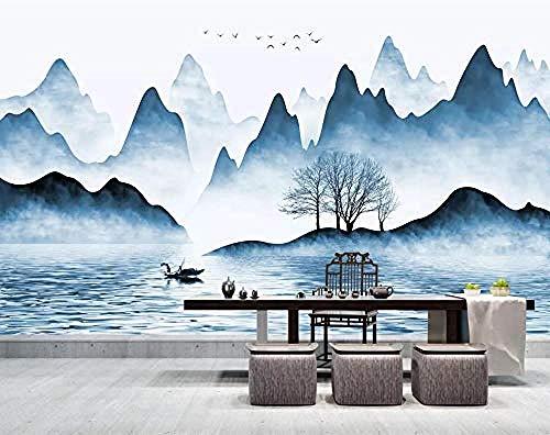 Papel pintado de tinta azul de pájaro volador de árbol de agua de río de montaña de viento chino Pared Pintado Papel tapiz 3D Decoración dormitorio Fotomural de estar sala sofá mural-250cm×170cm