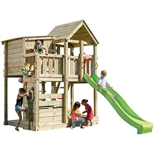 Demmelhuber Spielturm Palazzo mit Rutsche Kletterturm Sandkasten Spielhaus Lenkrad Kletterwand (Grün)
