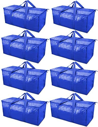 TICONN 8 Pack Extra Large Moving Bags with Zippers Carrying Handles Heavy Duty Storage Tote product image