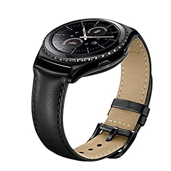 Gear S2 Watch Band Wollpo 20mm Premium Leather Bands with Bukle Spring Bar Replacement Watch Band for Samsung Gear S2 Classic Galaxy Watch 42mm / Active 2 40mm 44mm Smartwatch  Black