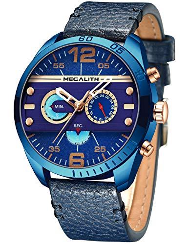 MEGALITH Herren Uhren Männer Militär Chronographen Wasserdicht Sport Groß Schwarz Leder Armbanduhr Mann Blau Datum Leuchtende Business Analog Uhr