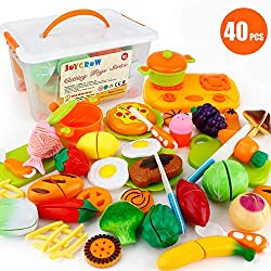 1.40 PCS kitchen Toys Package included:27pcs of fruits,vegetables ,cookies and 9pcs of cooking tools and 4pcs of cutting tools. 2.Made of safe and environmental materials, round edge design will safe for your kids. 3.Improve the ability of communicat...