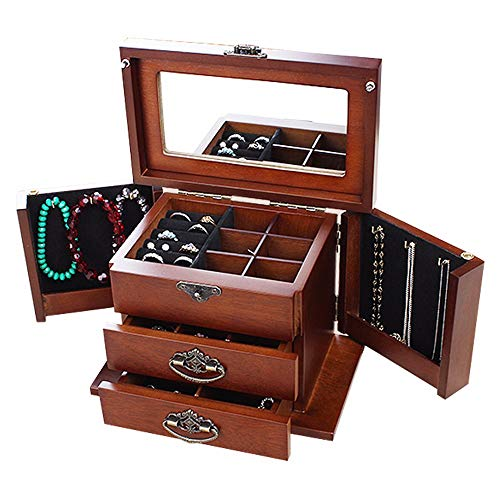 FGDFGDFEEGVD Caja de joyería de Madera Maciza Puerta Lateral Doble con Espejo Caja de Almacenamiento con Cerradura Vintage 2 Cajones extraíbles Regalo de Organizador de joyería de Viaje