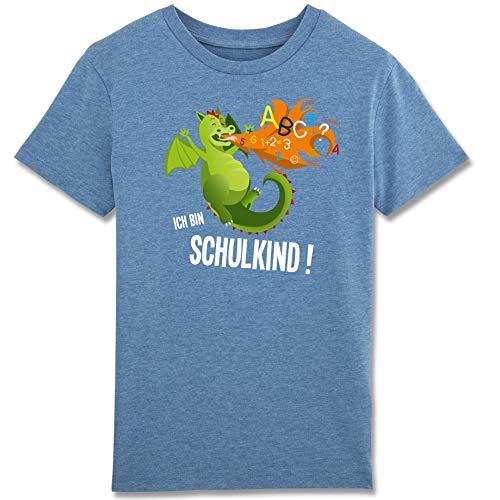 Shirtracer Einschulung und Schulanfang - Ich Bin EIN Schulkind Feuerdrache - Jungen T-Shirt (5-6 Jahre 110-116 cm, blau meliert)