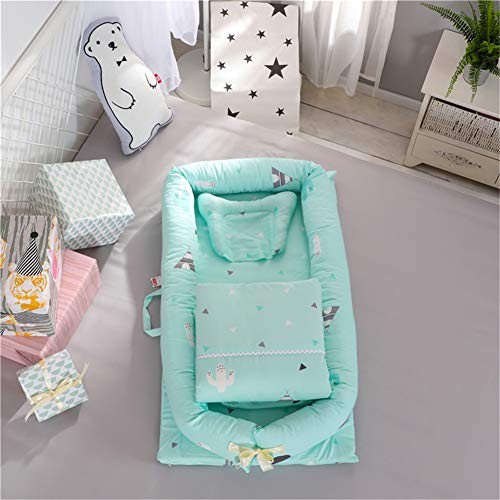 XDKS Baby Nest Pod,Baby Nest for Newborn and Babies,Baby Nest for Bedroom Baby Lounger for Bed,100% Soft Cotton Cosleeping Baby Bed for Bedroom/Travel (3 Pieces,Cactus-Green)