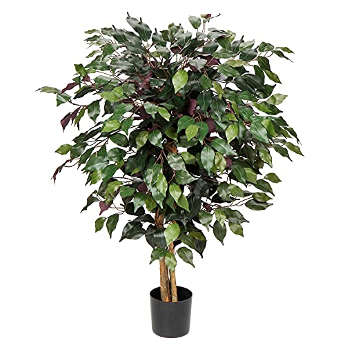 3 Feet Artificial Plants Ficus Tree Silk Fake Tree Plants Decorative Home Décor for Indoor Office House Living Room Decoration