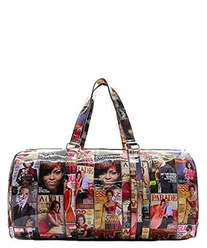 Michelle Obama Magazine Print Fashion Duffle Bag-...