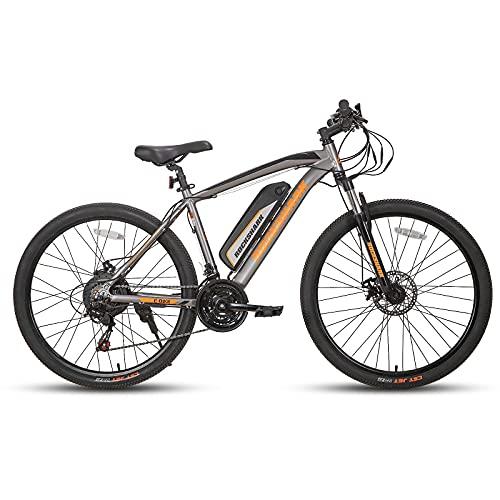 ROCKSHARK Aluminum 27.5 inch 350W Electric Mountain Bike Shimano 21 Speed Disc Brake Suspension Fork with 36V 10.4Ah Battery 17' Frame Gray