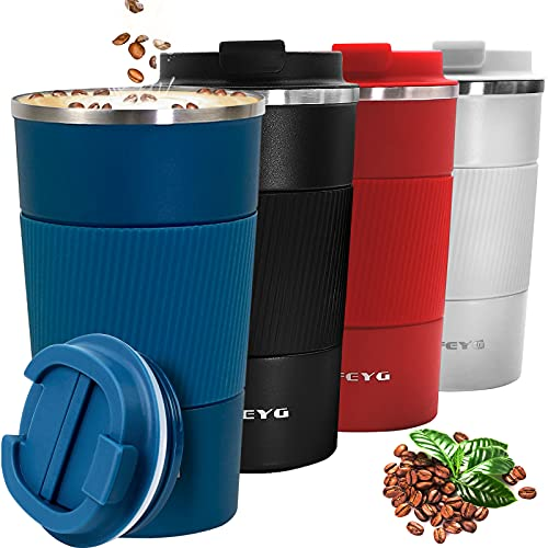 Mug Isotherme Etanche 510ml, Tasse à café isolée avec Couvercle étanche,Isolation sous Vide à Double paroi en Acier Inoxydable, Café/Thé I Tasse isolée pour café et thé à emporter (bleu-510ml)