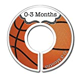 Basketball Nursery Closet Size Dividers, Boys Basketball Baby Clothes Organizers, Sports Theme Nursery - Gift for New Mom, Mom-To-Be, Baby Shower, Nursery Organization (Set of 6 (0-3m to 18-24m))