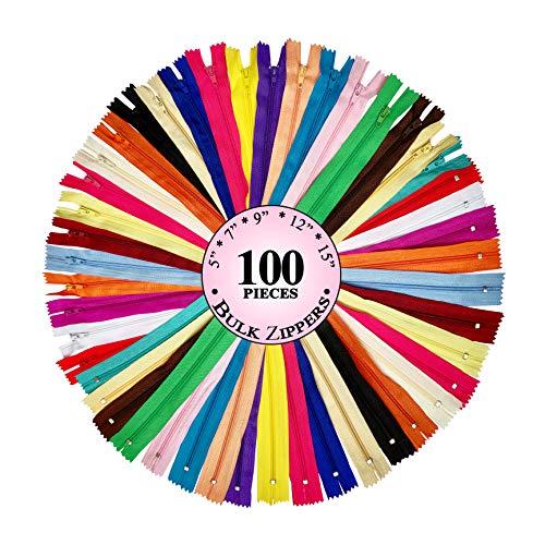 KGS Reißverschluss | Bulk mit 5 Größen | 13 cm, 18 cm, 23 cm, 30 cm, 38 cm | 20 Farbe | 100 Stück/Packung