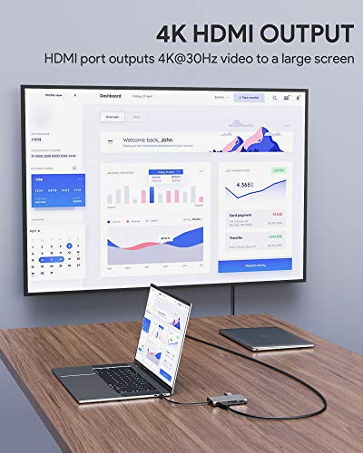 AUKEY USB C Hub 8-in-1 mit 4K HDMI, Gigabit Ethernet, 3 USB 3.0, 100W PD-Aufladung und SD&MicroSD-Kartenleser USB C Adapter Aluminium für MacBook Pro/Air (Thunderbolt 3), Dell, HP