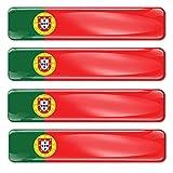 Biomar Labs® 4 x Aufkleber 3D Gel Silikon Stickers Portugal Portugiesisch Flagge Fahne Flag Autoaufkleber F 17