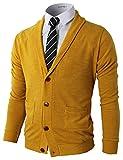 H2H Men's Fine Gauge Solid V-Neck Sweater Cardigans Mustard US M/Asia L (CMOCAL07)