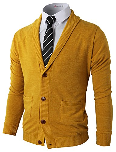 H2H Men's Perfect Slim Fit V-Neck Sweater Mustard US S/Asia M (CMOCAL07)