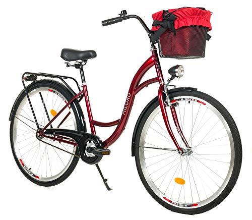 Milord. 28 Zoll 3-Gang Rotwein Komfort Fahrrad mit Korb Hollandrad Damenfahrrad Citybike Cityrad Retro Vintage