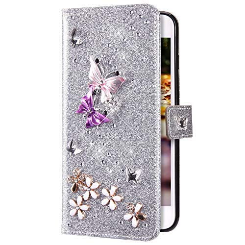 Uposao Compatible with Samsung Galaxy S6 Wallet Case 3D Crystal Rhinestone Diamond Bling Butterfly Flower Girl Women Phone Cover Leather Flip Case Magnetic Cover with Stand,Silver