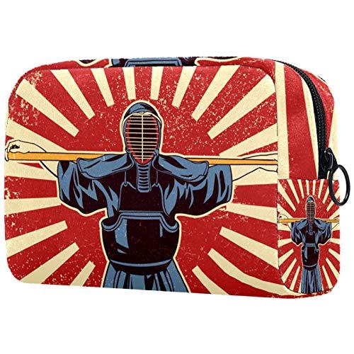 Borse da Toilette,Combattenti di arti marziali giapponesi della spada di Kendo ,make up borse da viaggio,Beauty Case da Viaggio,Cosmetici Trucco Pochette da Toilette Organizer