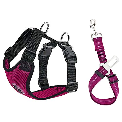 Lukovee Dog Safety Vest Harness Seatbelt, Dog Car Harness Seat Belt Adjustable Pet Harnesses Double Breathable Mesh Fabric Car Vehicle Connector Strap Dog (Small, Rose Red+Rose Red Seatbelt)