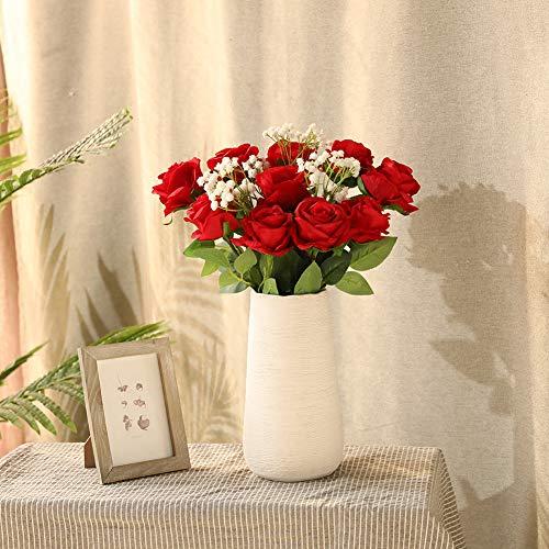 JUSTOYOU 10 Pack Künstliche Seide Rose Blumen Hochzeit Sträuße(rot) - 4