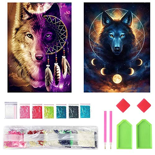 Mupack 2 Pcs DIY 5D Diamond Painting Full Kits,Wolf Crystal Rhinestone Embroidery Pictures for Kids and Adult,Full Drill Kit Arts Craft Gift for Home Wall Decor (30x40cm)