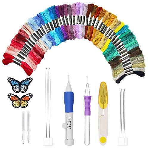 Bordado Starter Kit, Kit de Inicio de Bordado, Kit de Herramienta de Punto Cruz, 50 Filos de Colores para de Costura Costura DIY, Juego de Bordado Set Adecuado para Adultos y Niños