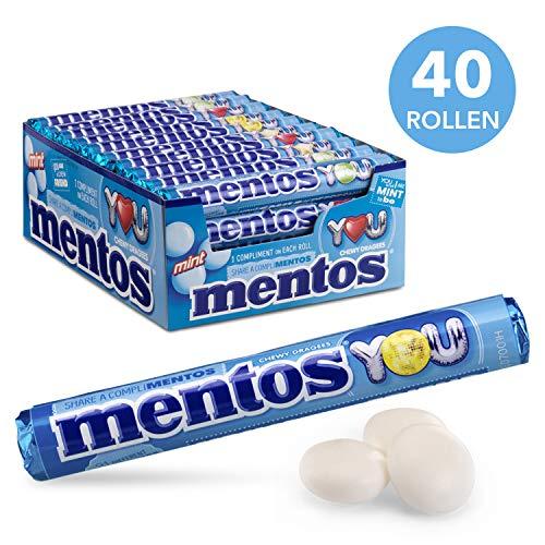 Mentos Mint Chewy Dragee – grootverpakking met 40 rollen (38g/14 stuks per rol), mint smaak, verfrist je adem