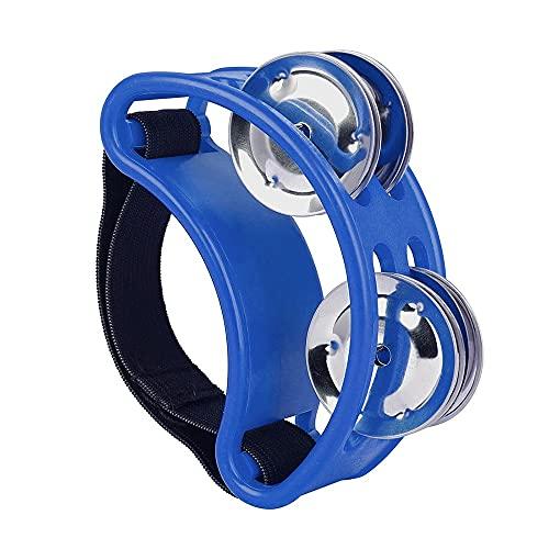 WGOEODI Foot Tambourine Metal Jingle Bell, Instrumento de percusión compañero de batería portátil, Azul