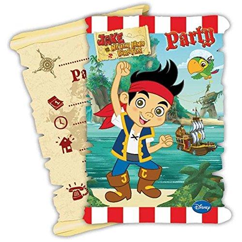 6 Cartes d'invitation avec enveloppe Jake et les pirates - taille - Taille Unique - 223534
