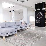 BESYILDIZ KALITE HALI w162 - Alfombra de diseño Moderno, 120 x 180 cm, para salón, Comedor, Dormitorio, Borde, Pelo Corto Impreso, Color Gris y Rosa